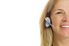 Femme d'affaires avec l'écouteur Images libres de droits