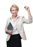 Femme d'affaires avec l'écriture de protection sur l'écran invisible photo libre de droits
