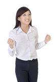Femme d'affaires avec l'excitation photo stock