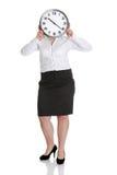 Femme d'affaires avec l'horloge Photographie stock