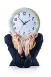 Femme d'affaires avec l'horloge Photos stock