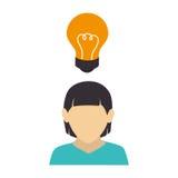 Femme d'affaires avec l'icône d'avatar de caractère d'ampoule illustration stock