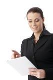 Femme d'affaires avec l'ordinateur de comprimé photo stock