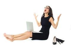 Femme d'affaires avec l'ordinateur portable Images stock