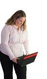 Femme d'affaires avec l'ordinateur portable et plus mauvais Photos stock