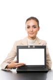Femme d'affaires avec l'ordinateur portatif image libre de droits