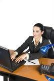 Femme d'affaires avec l'ordinateur portatif Image stock