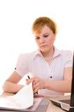 Femme d'affaires avec l'ordinateur portatif et le document Image libre de droits