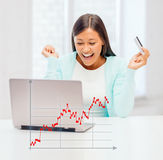 Femme d'affaires avec l'ordinateur portatif et par la carte de crédit Images libres de droits