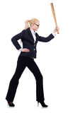 Femme d'affaires avec la batte de baseball Image libre de droits
