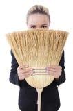 Femme d'affaires avec la brosse Image libre de droits
