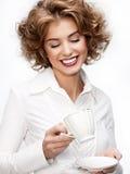 Femme d'affaires avec la cuvette photographie stock libre de droits