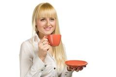 Femme d'affaires avec la cuvette en fonction Photo stock
