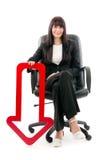 Femme d'affaires avec la flèche rouge Images libres de droits