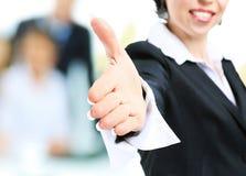 Femme d'affaires avec la main prolongée à la poignée de main Photographie stock