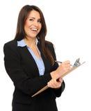 Femme d'affaires avec la planchette image stock