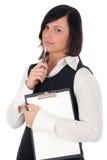 Femme d'affaires avec la planchette et le crayon lecteur Photographie stock libre de droits