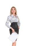 Femme d'affaires avec la protection de papier de support images stock