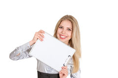 Femme d'affaires avec la protection de papier de support Images libres de droits