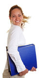 Femme d'affaires avec la rotation de fichiers Images stock