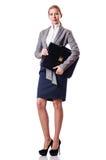 Femme d'affaires avec la serviette Images stock