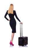 Femme d'affaires avec la valise Photographie stock libre de droits