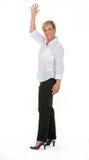 Femme d'affaires avec le bras augmenté Photo stock