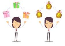 Femme d'affaires avec le cadre d'argent et de cadeau D'isolement Photos libres de droits