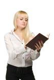 Femme d'affaires avec le cahier Images stock