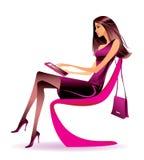 Femme d'affaires avec le comprimé illustration libre de droits
