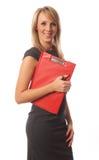 Femme d'affaires avec le dépliant rouge photographie stock
