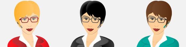 Femme d'affaires avec le dispositif mains libres de bluetooth illustration stock