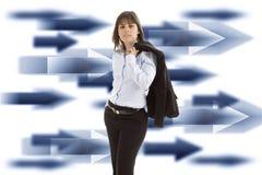 Femme d'affaires avec le fond Photographie stock libre de droits