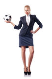 Femme d'affaires avec le football Photos stock