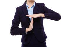 Femme d'affaires avec le geste de main de pause photo libre de droits