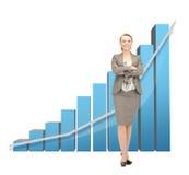 Femme d'affaires avec le grand diagramme 3d Photographie stock