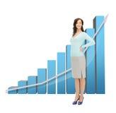 Femme d'affaires avec le grand diagramme 3d Image libre de droits