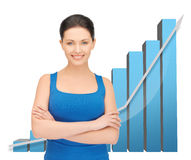 Femme d'affaires avec le grand diagramme 3d Image stock