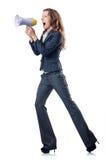 Femme d'affaires avec le haut-parleur Photos stock