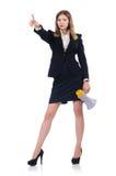 Femme d'affaires avec le haut-parleur Image libre de droits