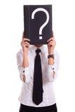 Femme d'affaires avec le livre de question photographie stock libre de droits