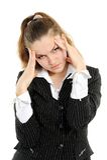 Femme d'affaires avec le mal de tête intense photographie stock