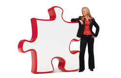 Femme d'affaires avec le panneau vide de puzzle Photos stock