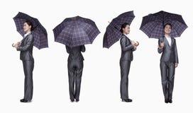 Femme d'affaires avec le parapluie, 360 degrés Photographie stock