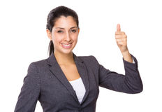 Femme d'affaires avec le pouce vers le haut Images libres de droits