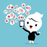 Femme d'affaires avec le réseau de social de nuage de dispositif de smartphone Images stock
