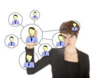 Femme d'affaires avec le réseau en ligne d'amis d'isolement Photographie stock