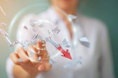 Femme d'affaires avec le rendu cassé de la flèche 3D de crise Photographie stock