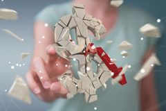 Femme d'affaires avec le rendu de explosion de la devise 3D du dollar Photo libre de droits