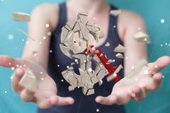 Femme d'affaires avec le rendu de explosion de la devise 3D du dollar Photographie stock